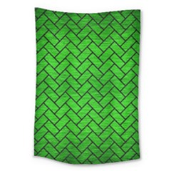 Brick2 Black Marble & Green Brushed Metal (r) Large Tapestry by trendistuff