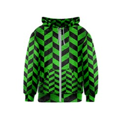 Chevron1 Black Marble & Green Brushed Metal Kids  Zipper Hoodie