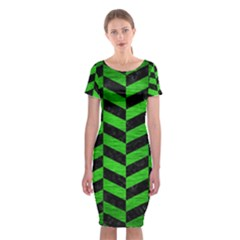Chevron1 Black Marble & Green Brushed Metal Classic Short Sleeve Midi Dress