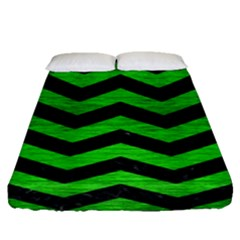 Chevron3 Black Marble & Green Brushed Metal Fitted Sheet (queen Size) by trendistuff