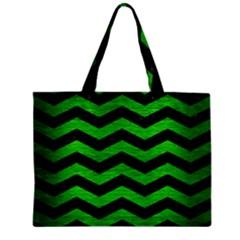 Chevron3 Black Marble & Green Brushed Metal Zipper Mini Tote Bag by trendistuff
