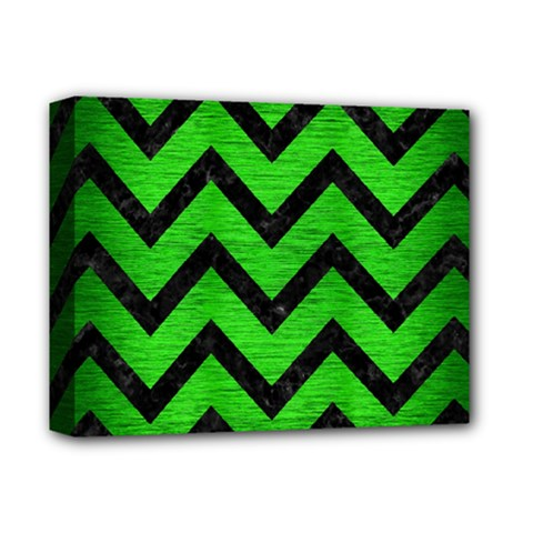 Chevron9 Black Marble & Green Brushed Metal (r) Deluxe Canvas 14  X 11  by trendistuff