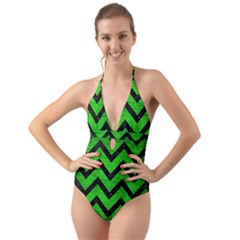 Chevron9 Black Marble & Green Brushed Metal (r) Halter Cut Out One Piece Swimsuit