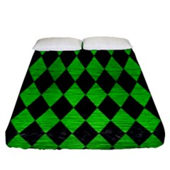 Diamond1 Black Marble & Green Brushed Metal Fitted Sheet (queen Size) by trendistuff