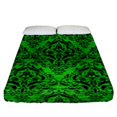 Damask1 Black Marble & Green Brushed Metal (r) Fitted Sheet (queen Size) by trendistuff