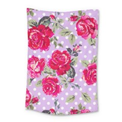 Shabby Chic,pink,roses,polka Dots Small Tapestry by 8fugoso