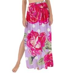 Shabby Chic,pink,roses,polka Dots Maxi Chiffon Tie Up Sarong by 8fugoso