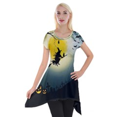 Halloween Landscape Short Sleeve Side Drop Tunic by Valentinaart