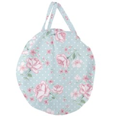 Shabby Chic,pink,roses,polka Dots Giant Round Zipper Tote by 8fugoso