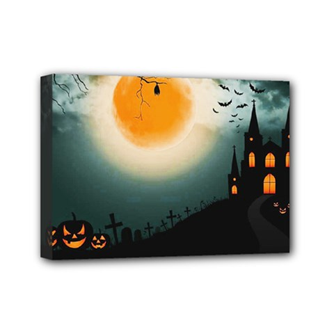 Halloween Landscape Mini Canvas 7  X 5  by Valentinaart