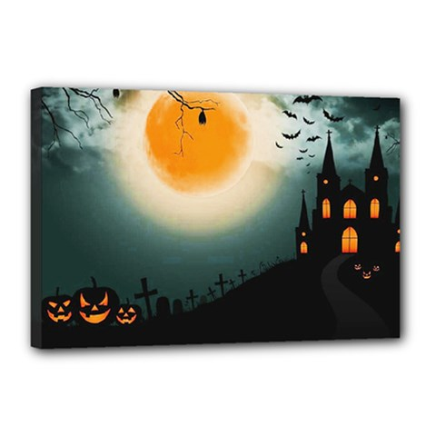 Halloween Landscape Canvas 18  X 12  by Valentinaart