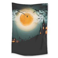 Halloween Landscape Large Tapestry by Valentinaart