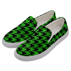 Houndstooth1 Black Marble & Green Brushed Metal Men s Canvas Slip Ons by trendistuff