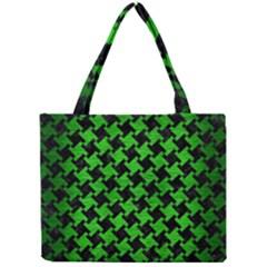 Houndstooth2 Black Marble & Green Brushed Metal Mini Tote Bag by trendistuff