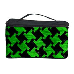 Houndstooth2 Black Marble & Green Brushed Metal Cosmetic Storage Case by trendistuff
