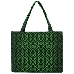 Hexagon1 Black Marble & Green Brushed Metal Mini Tote Bag by trendistuff