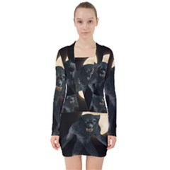 Werewolf V Neck Bodycon Long Sleeve Dress by Valentinaart