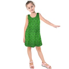 Hexagon1 Black Marble & Green Brushed Metal (r) Kids  Sleeveless Dress