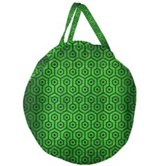 Hexagon1 Black Marble & Green Brushed Metal (r) Giant Round Zipper Tote by trendistuff