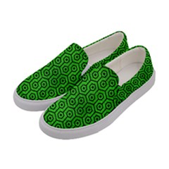 Hexagon1 Black Marble & Green Brushed Metal (r) Women s Canvas Slip Ons by trendistuff