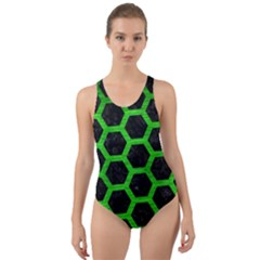 Hexagon2 Black Marble & Green Brushed Metal Cut Out Back One Piece Swimsuit