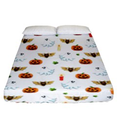 Halloween Pattern Fitted Sheet (king Size) by Valentinaart