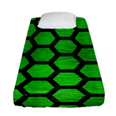 Hexagon2 Black Marble & Green Brushed Metal (r) Fitted Sheet (single Size) by trendistuff