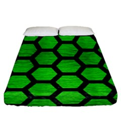 Hexagon2 Black Marble & Green Brushed Metal (r) Fitted Sheet (queen Size) by trendistuff