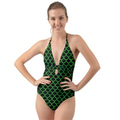Scales1 Black Marble & Green Brushed Metal Halter Cut Out One Piece Swimsuit