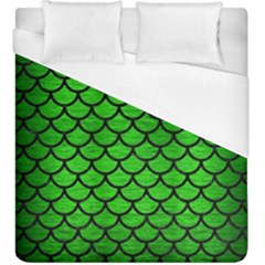 Scales1 Black Marble & Green Brushed Metal (r) Duvet Cover (king Size)
