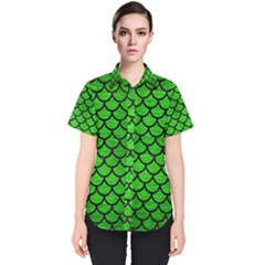 Scales1 Black Marble & Green Brushed Metal (r) Women s Short Sleeve Shirt