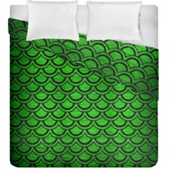 Scales2 Black Marble & Green Brushed Metal (r) Duvet Cover Double Side (king Size) by trendistuff