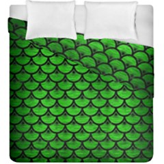 Scales3 Black Marble & Green Brushed Metal (r) Duvet Cover Double Side (king Size) by trendistuff
