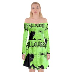 Halloween Off Shoulder Skater Dress
