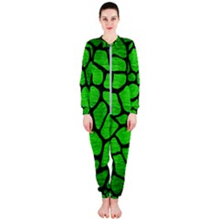 Skin1 Black Marble & Green Brushed Metal Onepiece Jumpsuit (ladies)