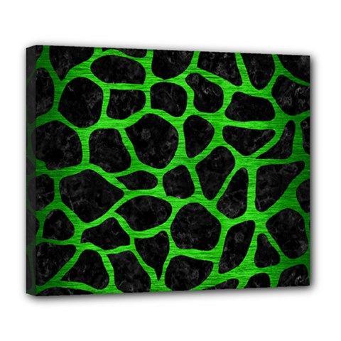 Skin1 Black Marble & Green Brushed Metal (r) Deluxe Canvas 24  X 20   by trendistuff