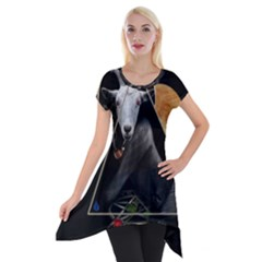 Spiritual Goat Short Sleeve Side Drop Tunic by Valentinaart