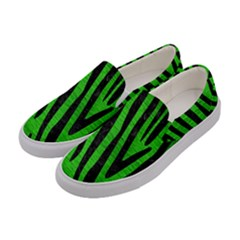 Skin4 Black Marble & Green Brushed Metal Women s Canvas Slip Ons by trendistuff