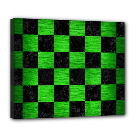 Square1 Black Marble & Green Brushed Metal Deluxe Canvas 24  X 20   by trendistuff