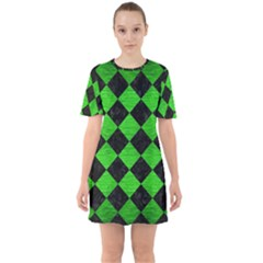 Square2 Black Marble & Green Brushed Metal Sixties Short Sleeve Mini Dress