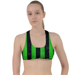 Stripes1 Black Marble & Green Brushed Metal Criss Cross Racerback Sports Bra