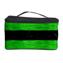 Stripes2 Black Marble & Green Brushed Metal Cosmetic Storage Case by trendistuff
