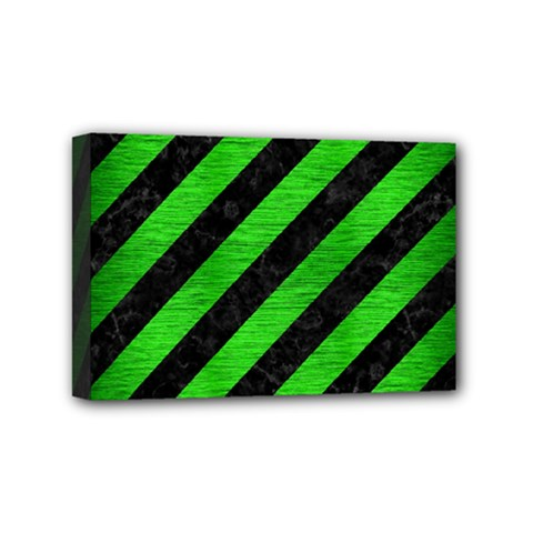 Stripes3 Black Marble & Green Brushed Metal Mini Canvas 6  X 4  by trendistuff