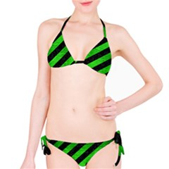 Stripes3 Black Marble & Green Brushed Metal Bikini Set