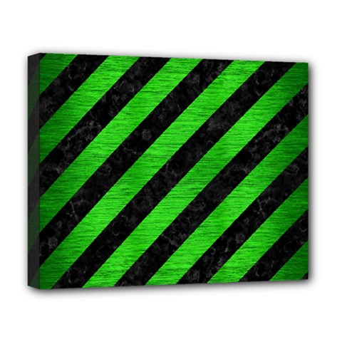 Stripes3 Black Marble & Green Brushed Metal Deluxe Canvas 20  X 16   by trendistuff