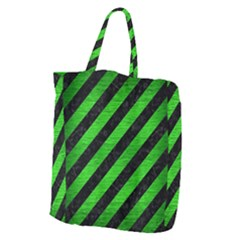 Stripes3 Black Marble & Green Brushed Metal Giant Grocery Zipper Tote by trendistuff