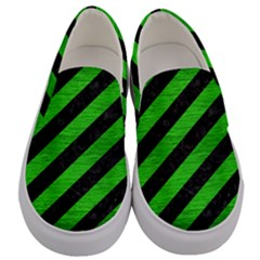 Stripes3 Black Marble & Green Brushed Metal Men s Canvas Slip Ons