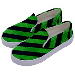 Stripes3 Black Marble & Green Brushed Metal Kids  Canvas Slip Ons by trendistuff