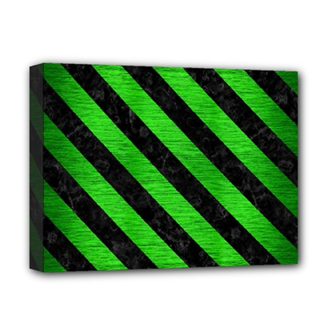 Stripes3 Black Marble & Green Brushed Metal (r) Deluxe Canvas 16  X 12   by trendistuff