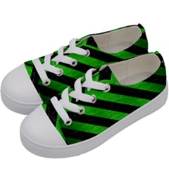 Stripes3 Black Marble & Green Brushed Metal (r) Kids  Low Top Canvas Sneakers by trendistuff